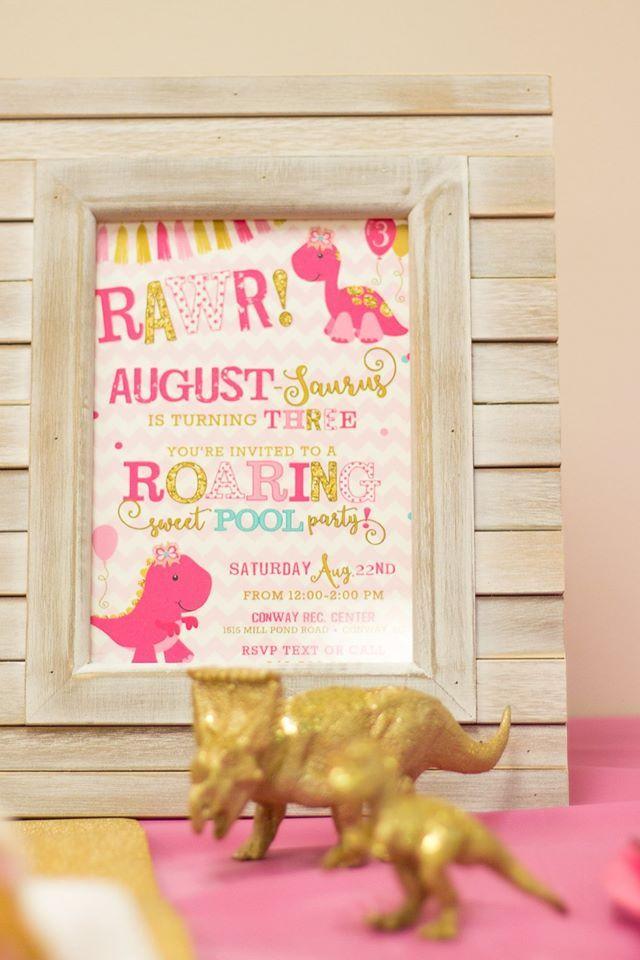 Girly Dinosaur Invite Girl Birthday Pink And Gold