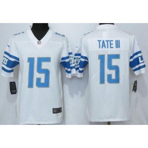 7f50e0df2 Men s Detroit Lions  15 Golden Tate III Limited White Vapor Untouchable  Jersey