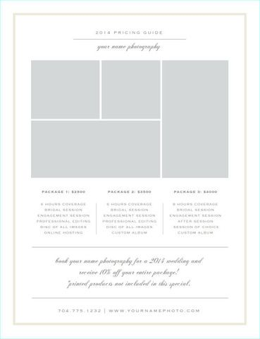 Photographer Pricing Guide Templates Wedding Photographer Price