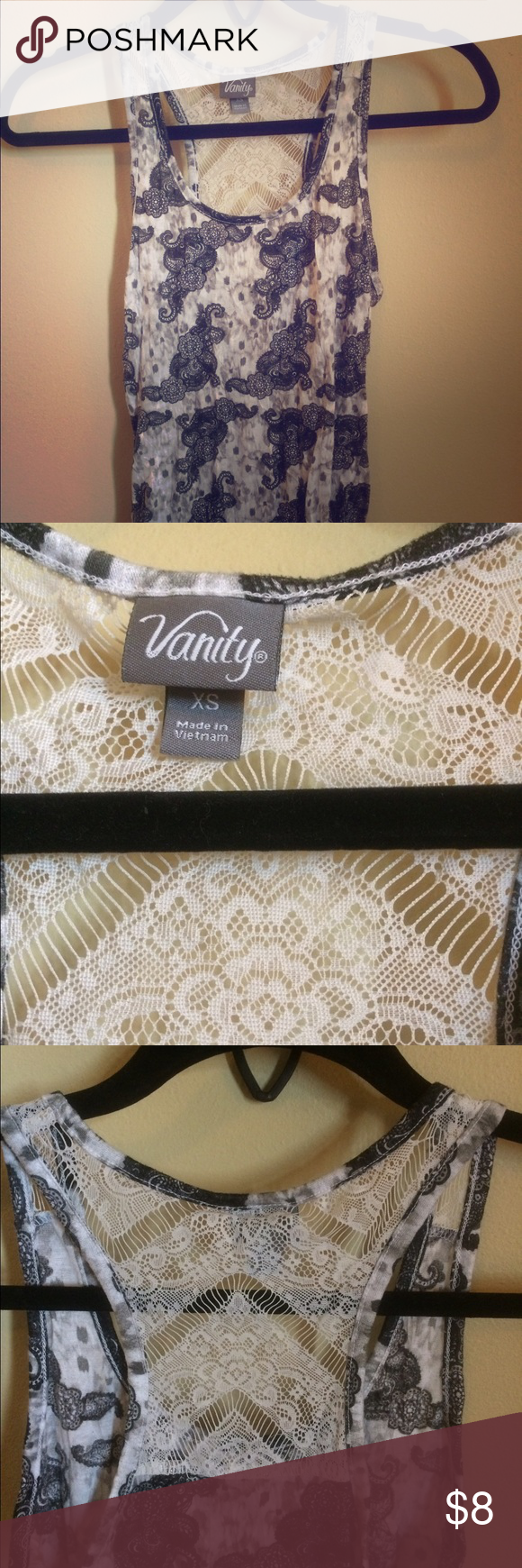 Vanity knit tank top Grey and white patterned knit tank top. Size: Small  No damage to knitting on shirt. No stains. Vanity Tops Tank Tops