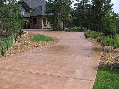 Tan Brown Driveway Concrete Driveways Decorative Coatings And