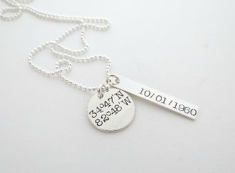 Mens Personalized Necklace Coordinates Jewelry Longitude