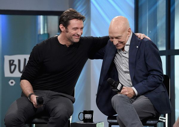 "Hugh Jackman Photos Photos - Hugh Jackman and Patrick Stewart attend the Build Series Presents Hugh Jackman And Patrick Stewart Discussing ""Logan"" at Build Studio on March 2, 2017 in New York City. - Build Series Presents Hugh Jackman and Patrick Stewart Discussing 'Logan'"