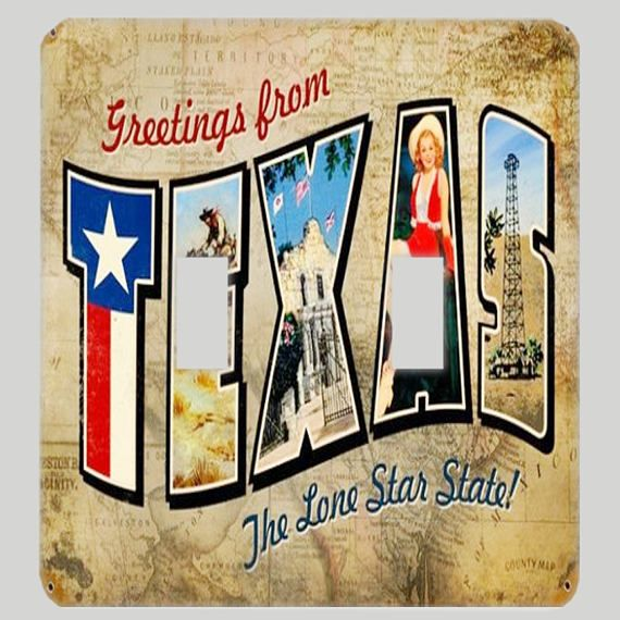 Texas Greetings -- Vintage Texas Travel Postcard Light Switch Cover