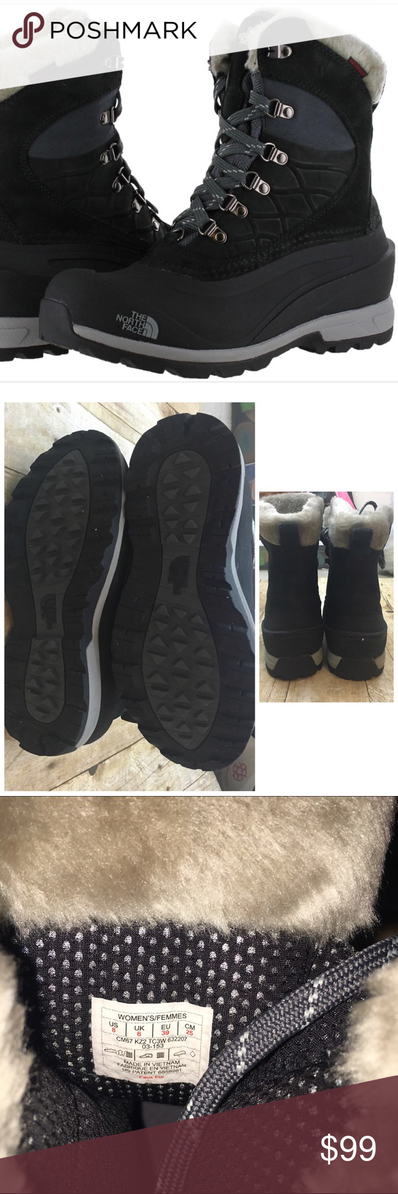 """North face """"verbara"""" women's snow boots Waterproof, snow proof and super cute for fall and winter! Wear with leggings and a long sweater and you have a cute practical outfit - these are in incredible used condition owner wore a total of 3 times- there are no stains or flaws and the bottoms look like they have never touched the ground! Offers are always welcome in my closet, remember to utilize the bundle feature on posh for 2 or more items in my closet and receive 15% off North Face Shoes…"""