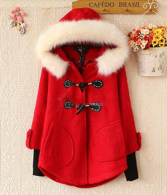 Red Faux Fur Hooded Contrast Knit Cuff Coat