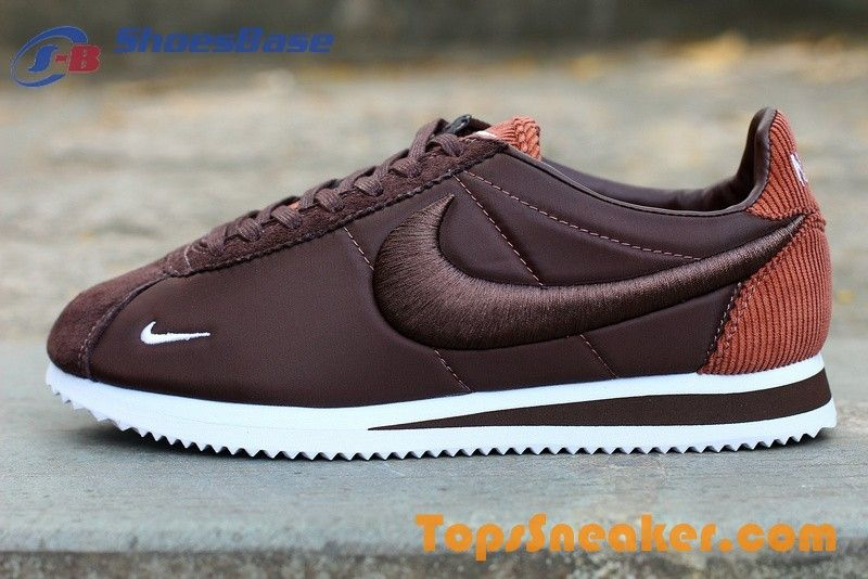 lowest price 8c096 f7e9c Classic Embroidery Style Nike Cortez Brown White Girls Recruiting
