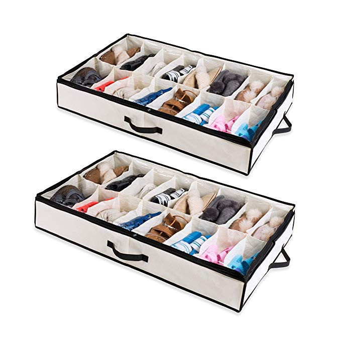 Amazon Com Woffit Under The Bed Shoe Organizer Fits 12 Pairs Made With Sturdy Breathable Under Bed Storage Shoe Organizer
