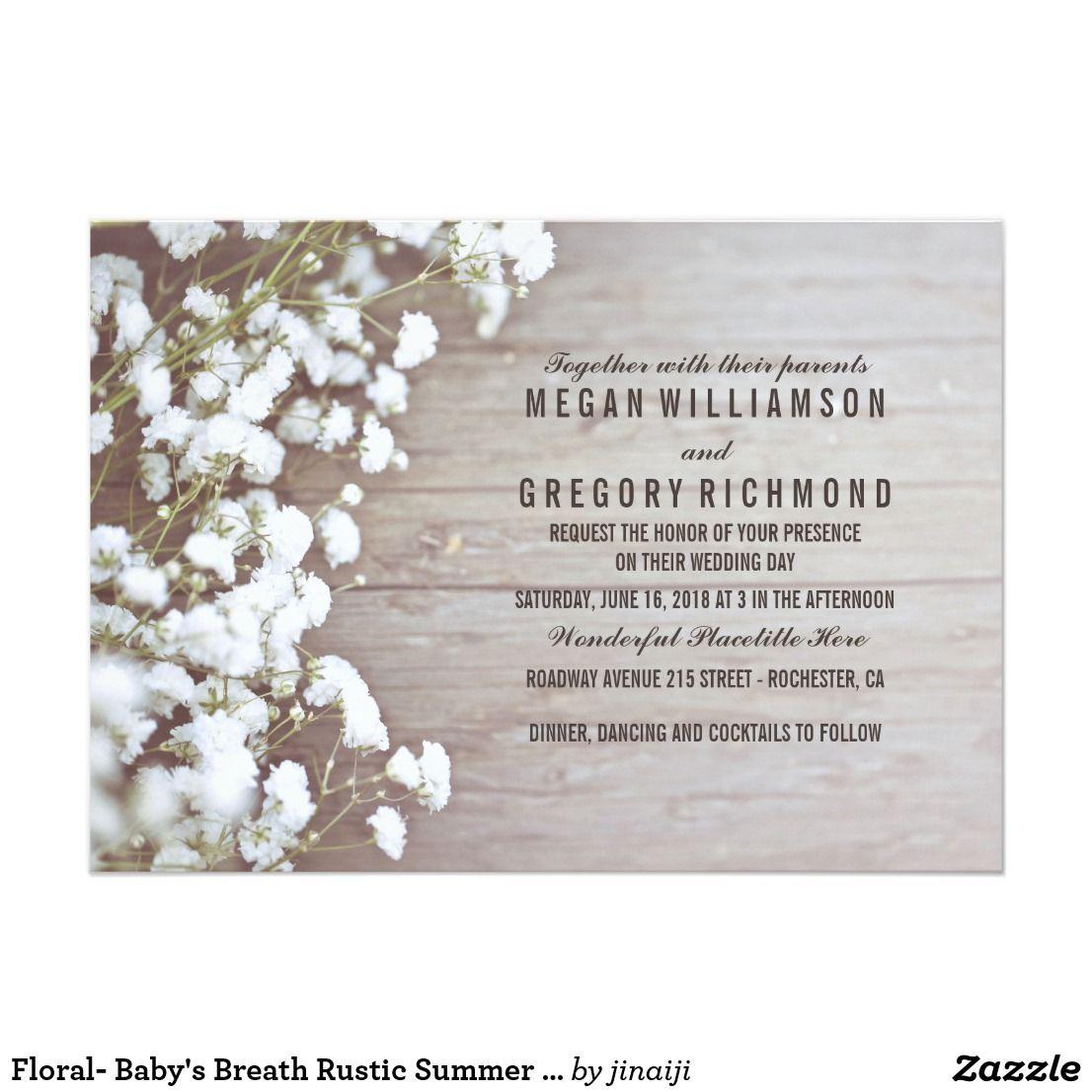 Floral Baby S Breath Rustic Summer Simple Wedding Invitation Zazzle Com Wedding Invitations Rustic Rustic Wedding Cards Simple Wedding Cards