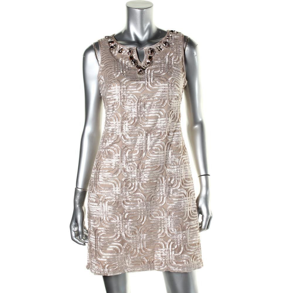 Jessica Howard Womens Petites Embellished Applique Cocktail Dress