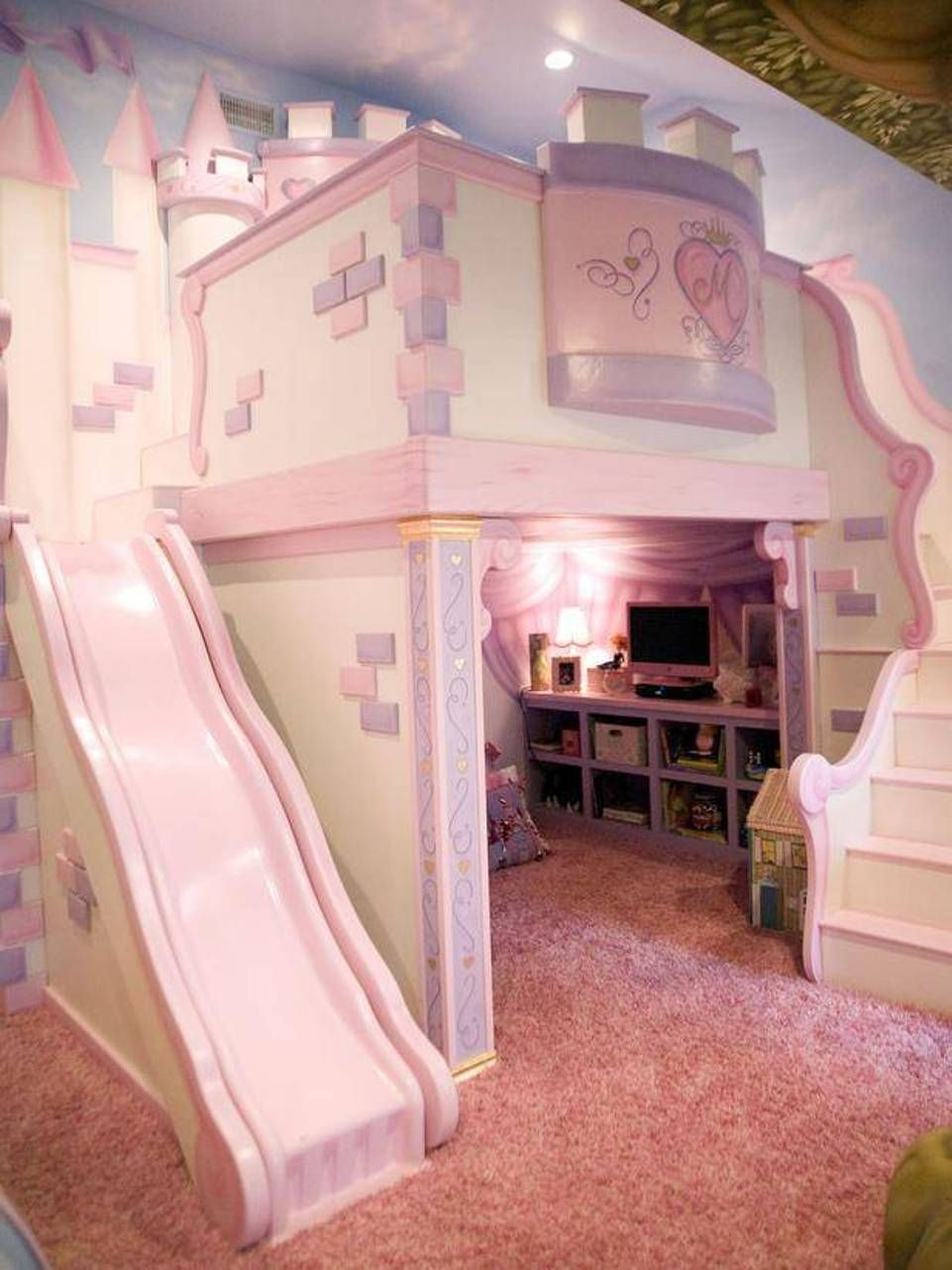 Bunk beds with slide and stairs - The Custom Castle Features A Cozy Loft Bed Nestled Within Fortress Walls And A Slide Down