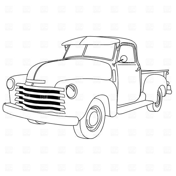 Old Trucks Coloring American Pick Up Truck Sketch Coloring Page ...