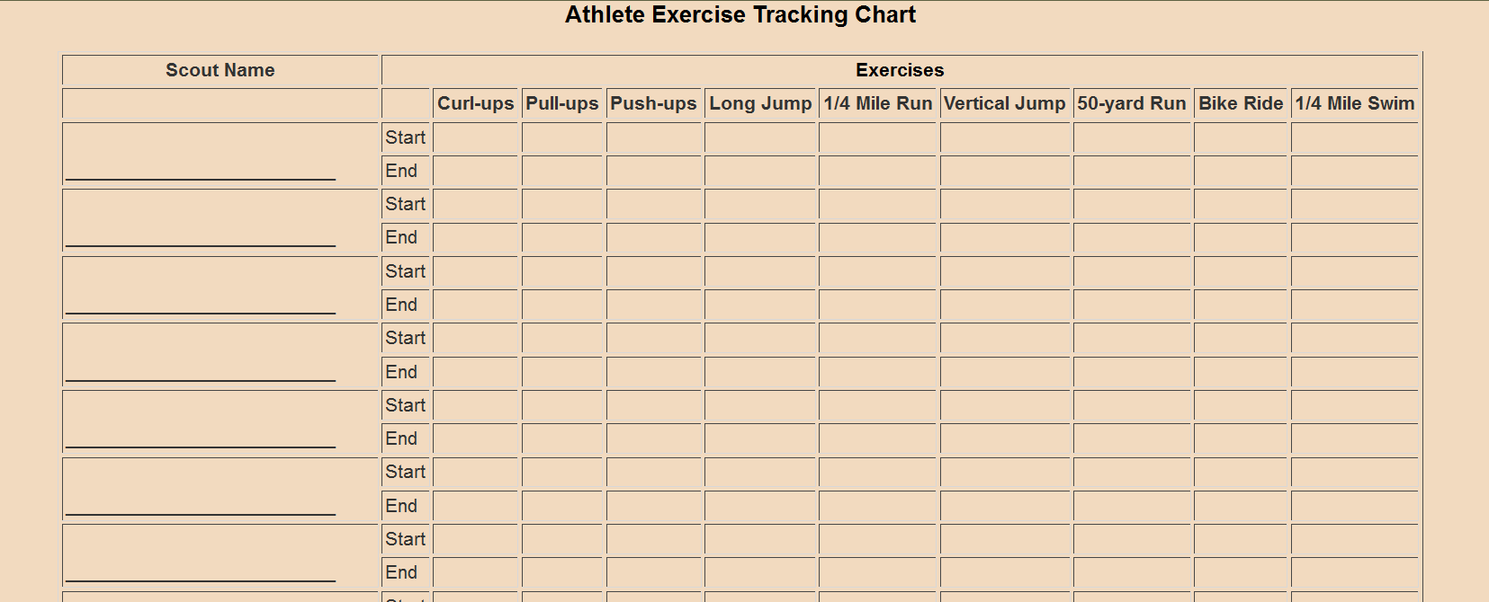Webelos Athlete Tracking Chart Cub Scout Ideas