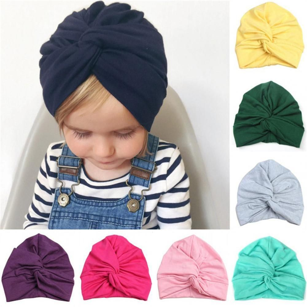 77b43c45a Kids Cute Hat Beanie Cap Twisted Knot Turban Head Wrap Pleated ...