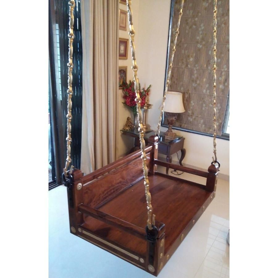 Simple wooden jhoola swing for living room or balcony balcony