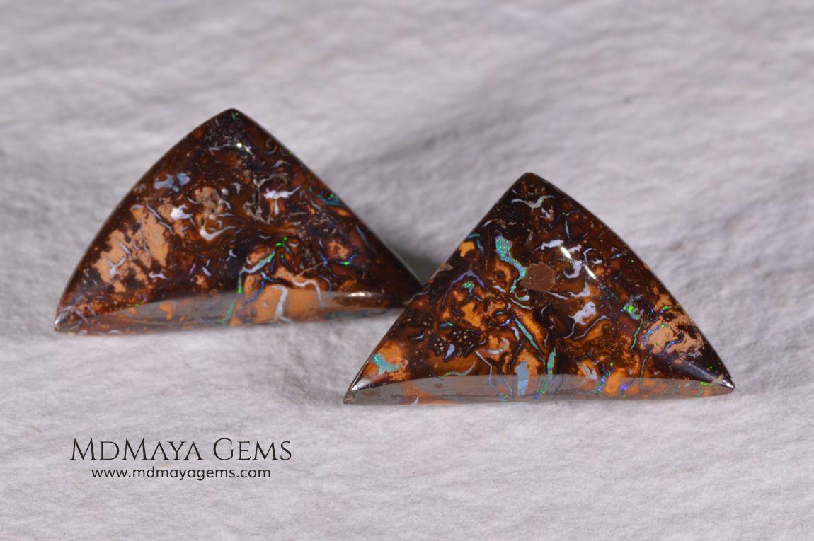 Australian Boulder Opal Pair 20.98 ct Opal, Unique
