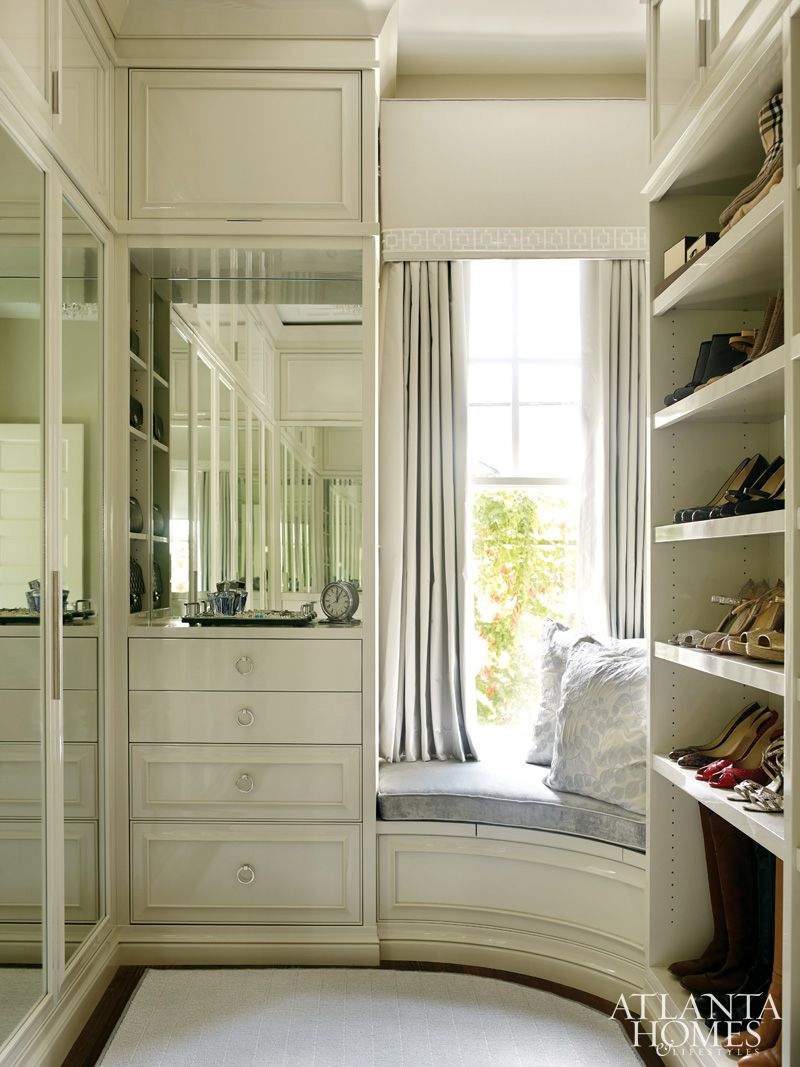 Gorgeous Curved Window Seat In This Closet Design By