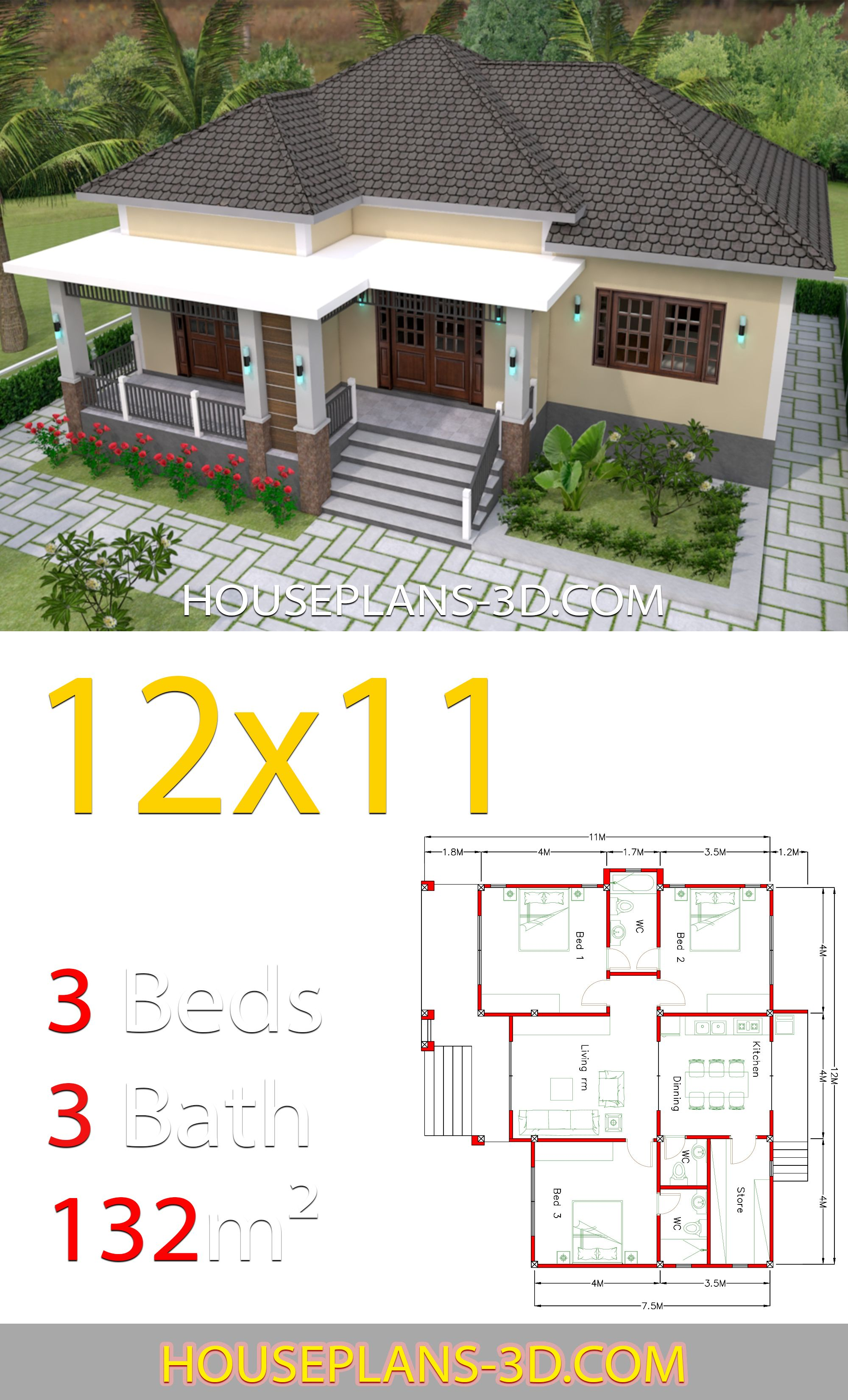 Home Design 12x11 With 3 Bedrooms Hip Roof House Plans 3d In 2020 House Construction Plan Architectural House Plans Model House Plan