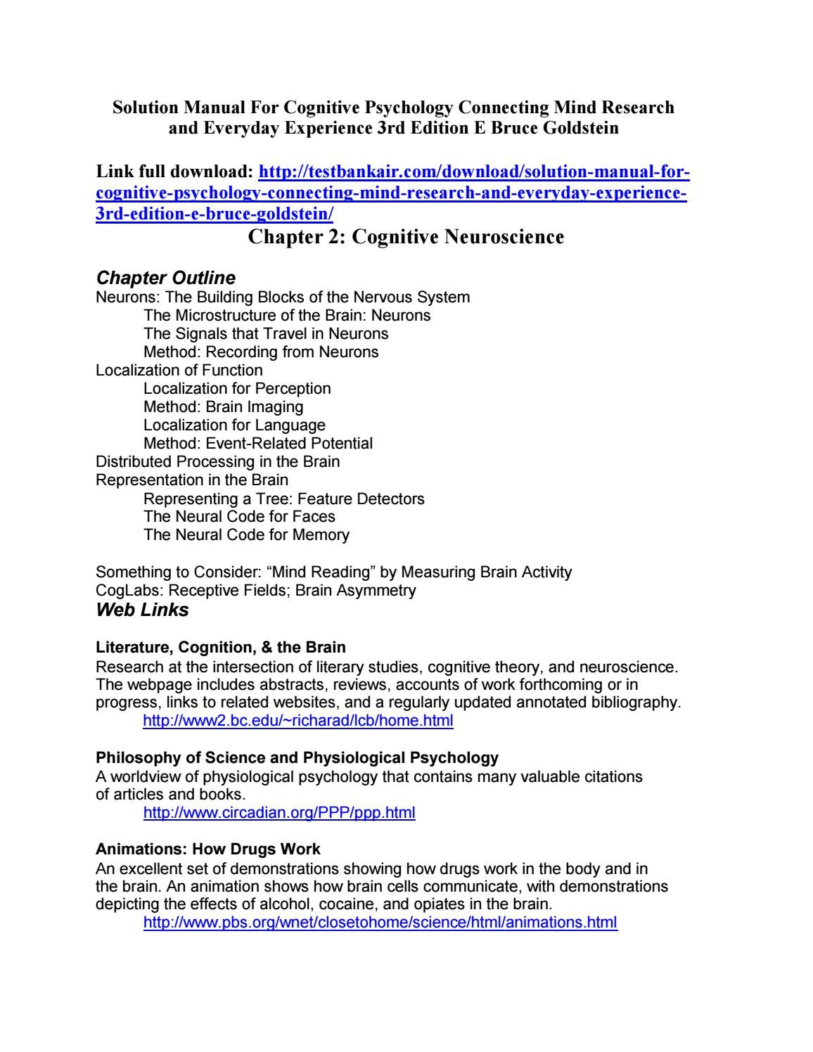 Solution Manual for Cognitive Psychology Connecting Mind Research and  Everyday Experience 3rd