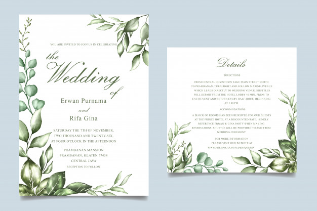 Watercolor Floral Wedding Invitation Card Template Floral Wedding Invitation Card Watercolor Floral Wedding Invitations Floral Wedding Invitations