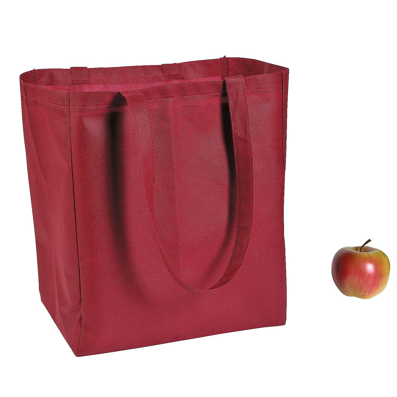 Burgundy Shopper Tote Bags - OrientalTrading.com