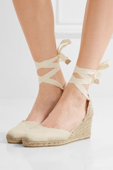 0ef361084b3 Heel measures approximately 80mm  3 inches Oatmeal canvas Ties at ankle  Imported