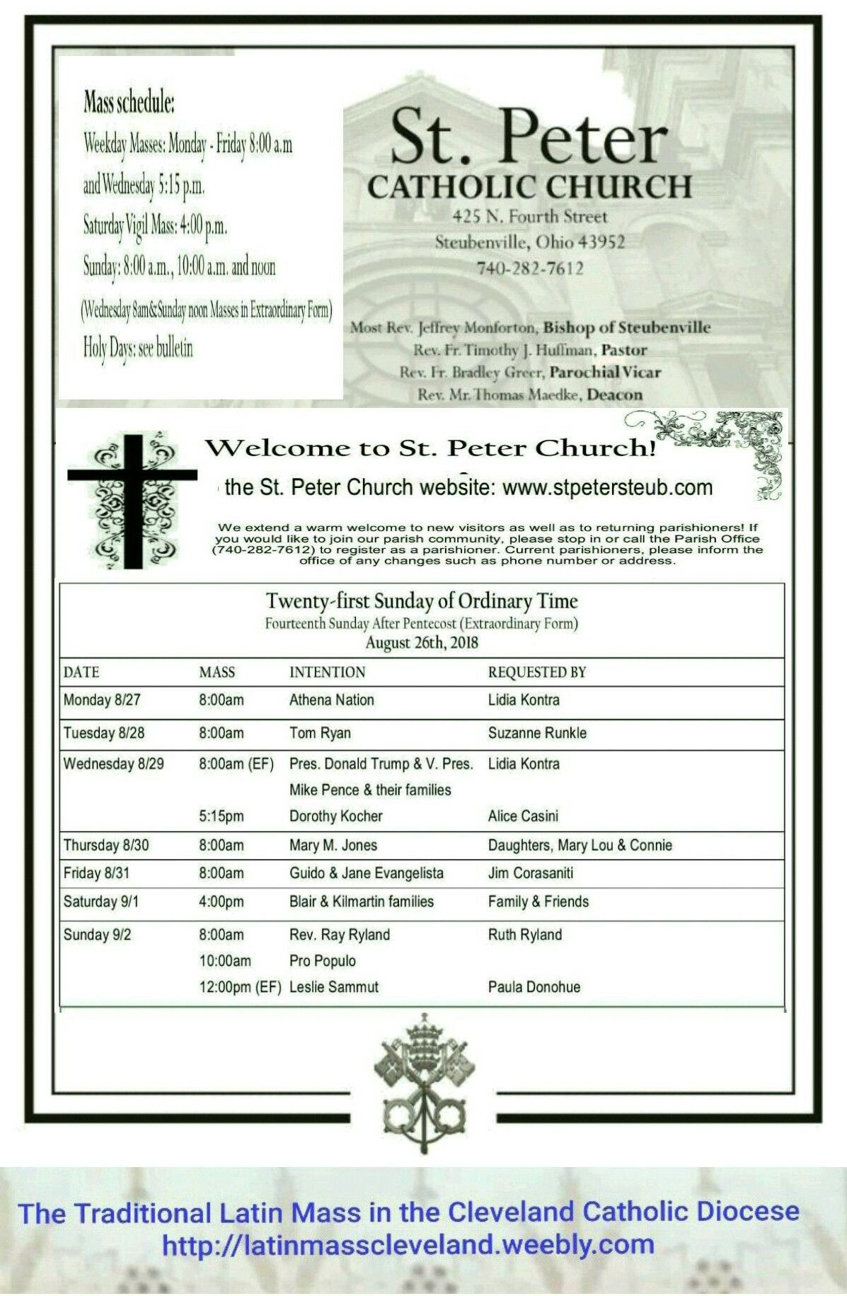 St  Peter Catholic Church Steubenville Mass Schedule