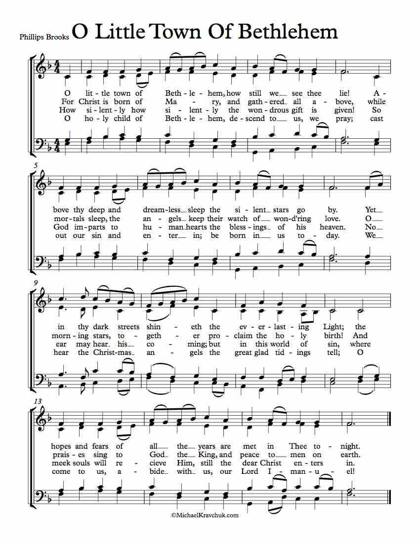 Free Choir Sheet Music – O Little Town Of Bethlehem (Forest Green ...