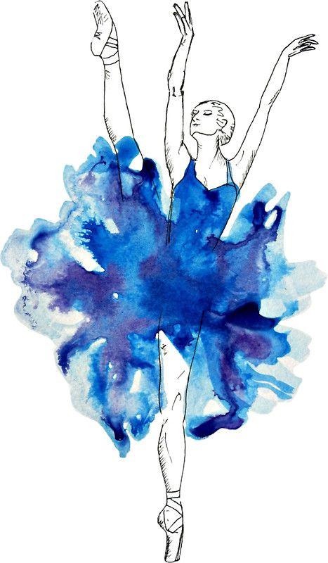 Watercolour Ballerina Sticker Watercolor Dancer Dancer