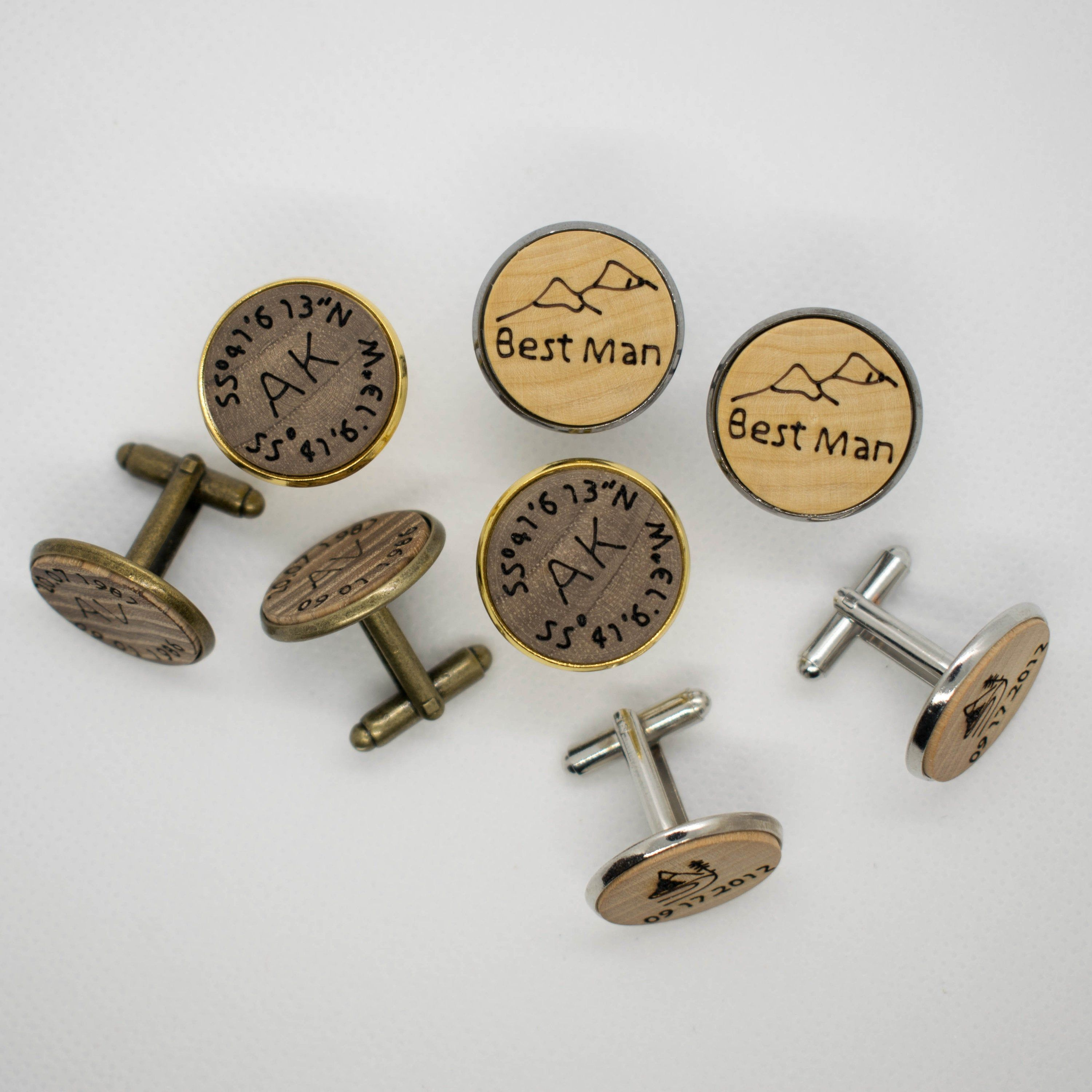Natural oak cufflinks wedding gift Custom engraving Initials and date engraved Oak tree wooden cufflinks personalized gift for Him