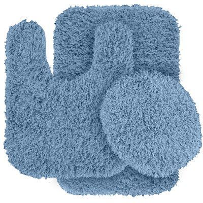 Wildon Home Dextra 3 Piece Blue Bath Rug Set Color: