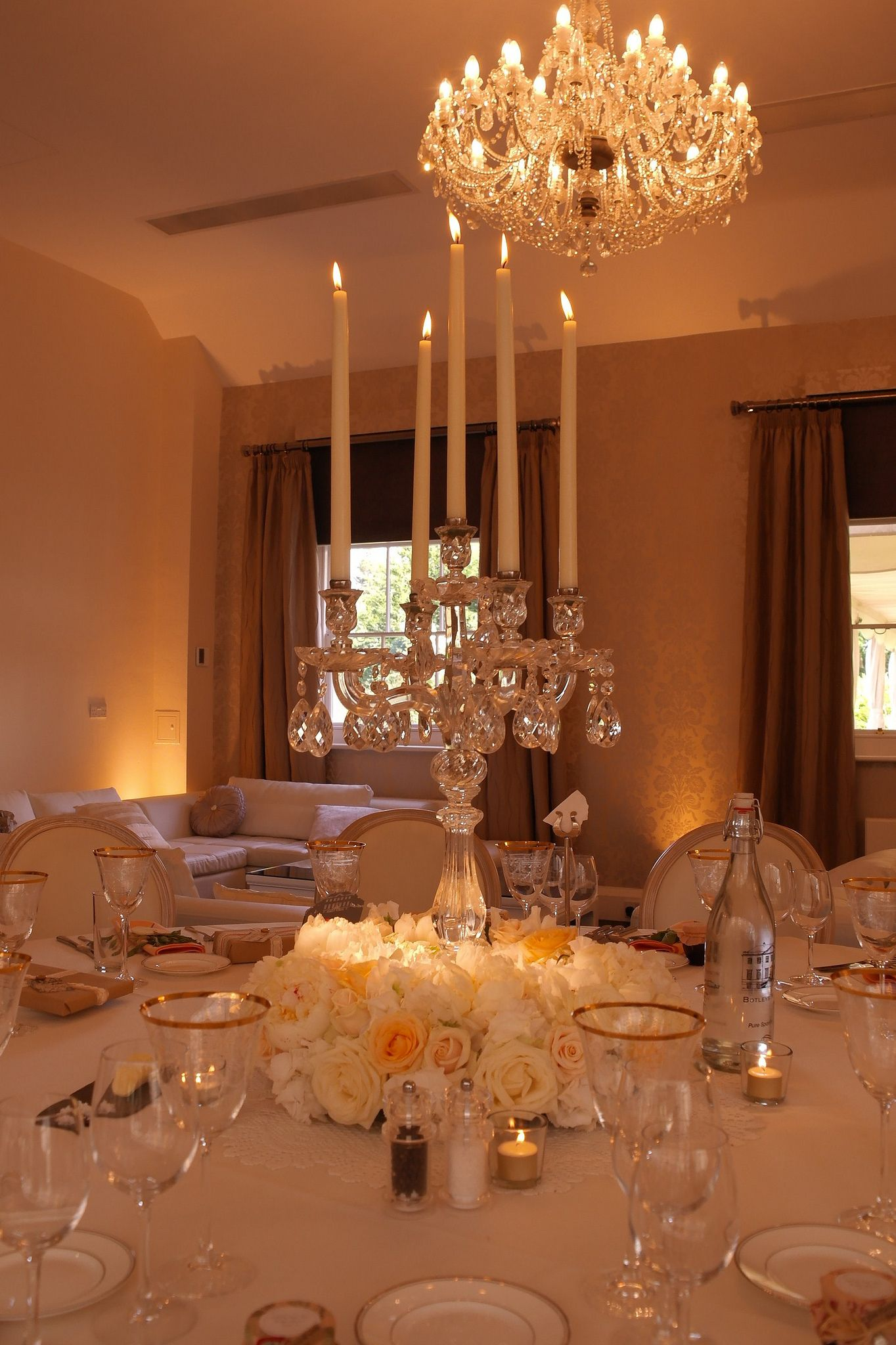 Botleys Mansion Surrey Gl Candelabra With 75cm Plinth And Ivory Candles Warm White Wall