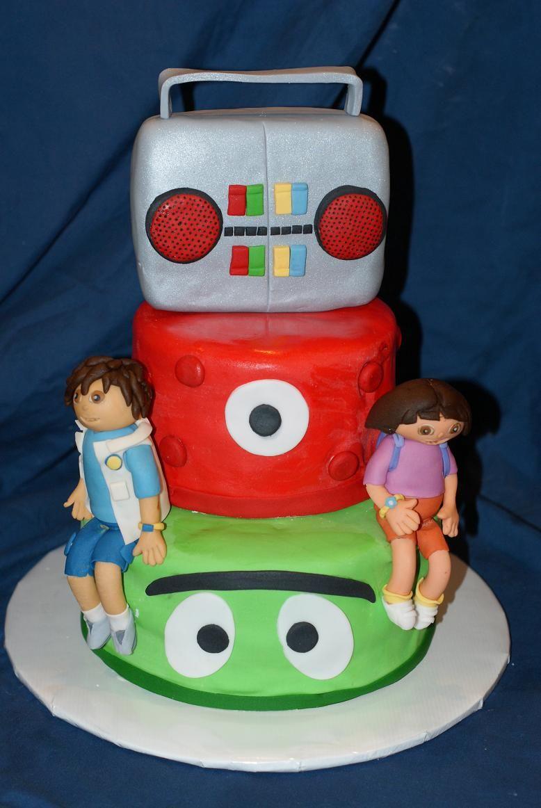 Astounding Nick Jr Birthday Cake Featuring Yo Gabba Gabba Dora And Diego Funny Birthday Cards Online Alyptdamsfinfo