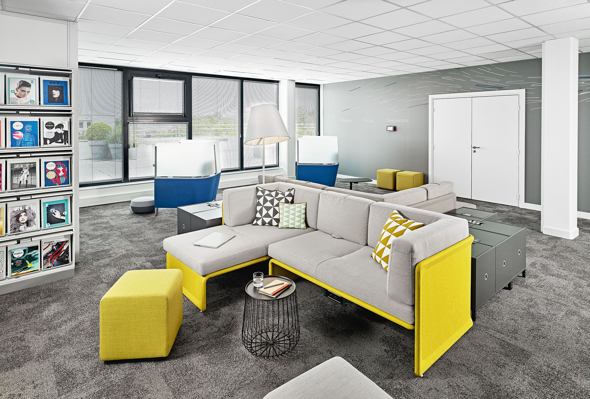 Coalesse Lagunitas Lounge Seating in contrasting colors