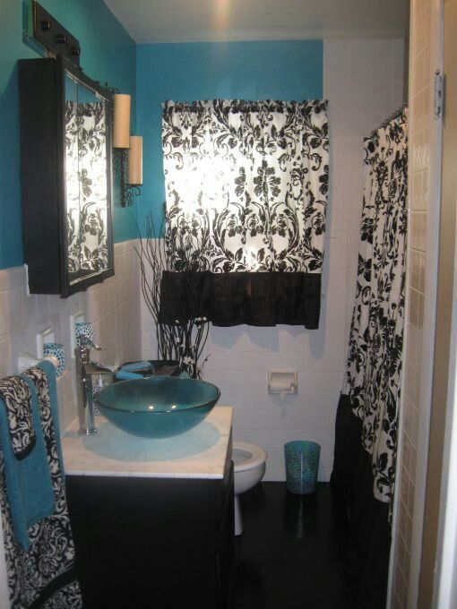 Pin by Monica Serrano on ✨Bathroom Decor✨ | Turquoise furniture Turquoise Black Bathroom Design on pink green turquoise bathroom, black and coral bathroom, rustic turquoise bathroom, black diamond bathroom, black grey bathroom, black red bathroom, black toile bathroom, black peach bathroom, black chalk paint bathroom, black yellow bathroom, houzz turquoise bathroom, accent and turquoise bathroom, mermaid turquoise bathroom,