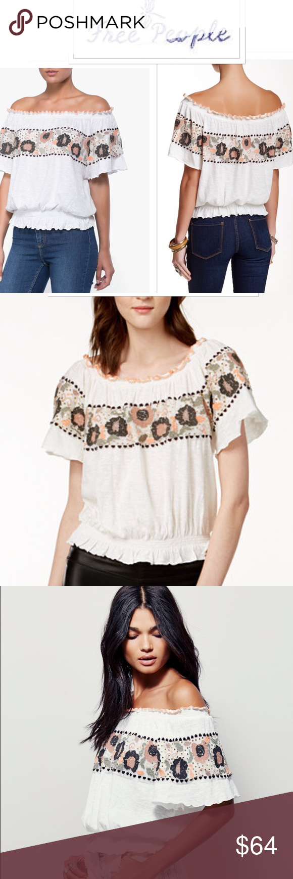 "New Free People ""Sienna"" Embroidered Top sz Lg New with tags, this ivory off-shoulder peasant top from Free People is feminine and chic, featuring floral embroidery and sequin detailing for a fun and vibrant appeal. short sleeves cinched elastic hem with ruffled trim, hits at hip pullover style size Large size 12, bust 39"" Free People Tops Blouses"