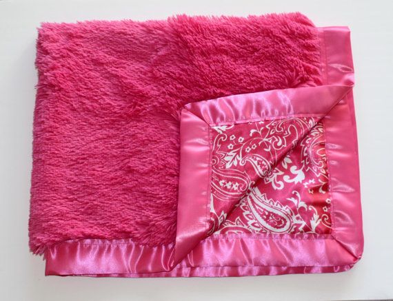 Super Shaggy and Soft Baby Girl Blanket in Hot Pink and Paisley on Etsy, $32.00