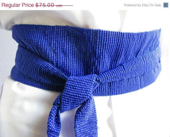 Vintage Glass Bead Belt, Obi Style Wrap Belt, Royal Blue Glass Bead Obi Wrap Belt