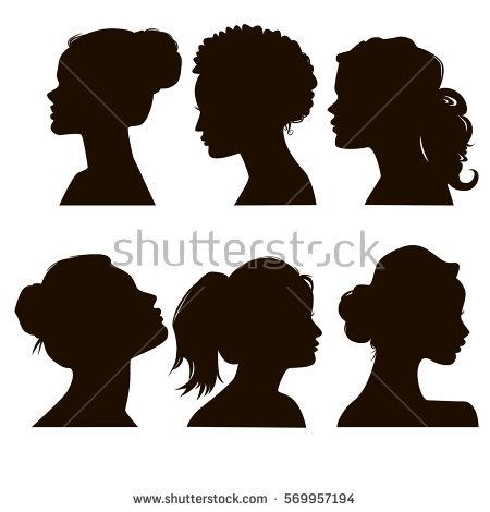 Women S Elegant Silhouettes With Different Hairstyles Beautiful Female Face In Profile Eps8 Woman Face Silhouette Face Profile Silhouette Face