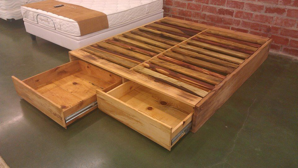 Diy pallet wood bed frame ideas pallet bed frames for Pallet platform bed with storage