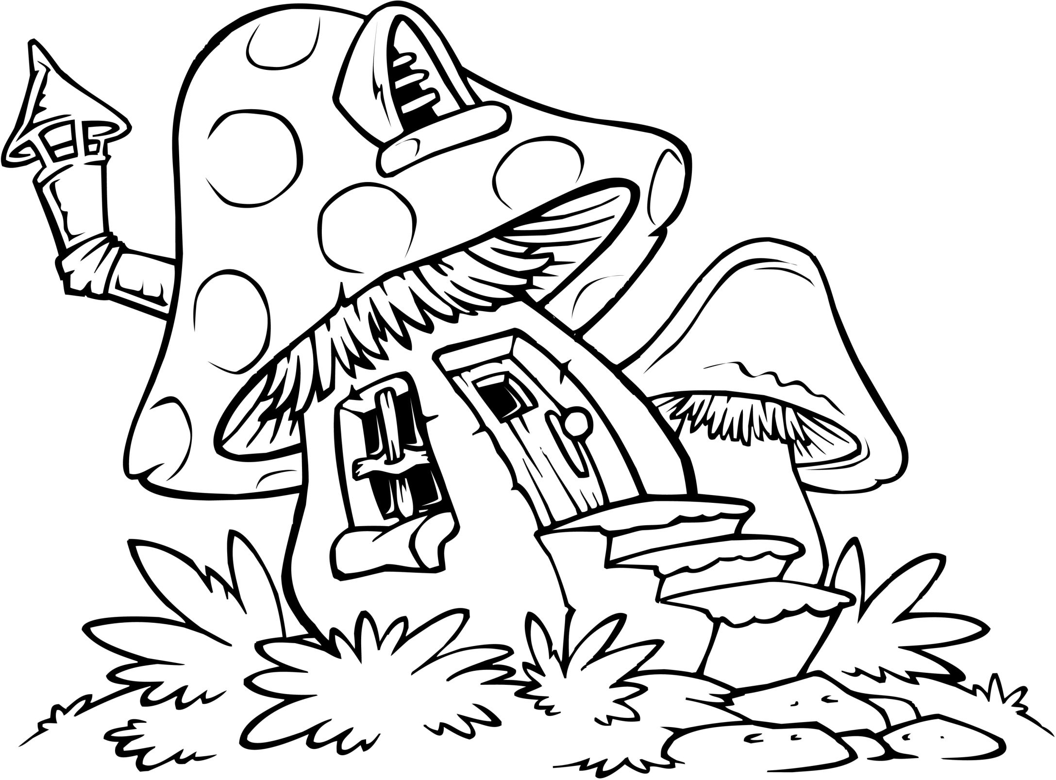 Mushroom House Coloring Pages House Colouring Pages Easy
