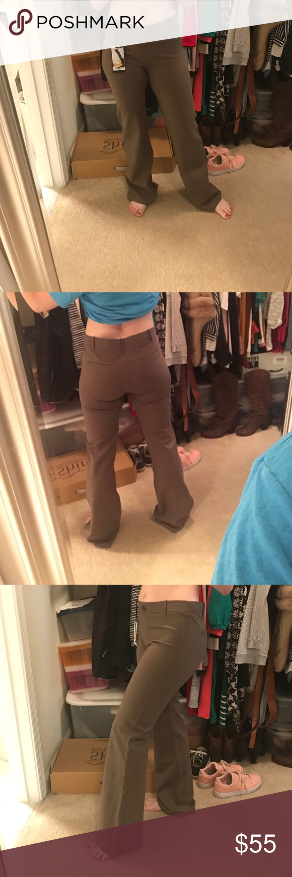 5865397145897 NWT Betabrand Yoga Dress Pants in Taupe size M Never worn before! Work yoga  pants in a dark khaki/taupe color. Size medium fits between 6-8. Has belt  loops.