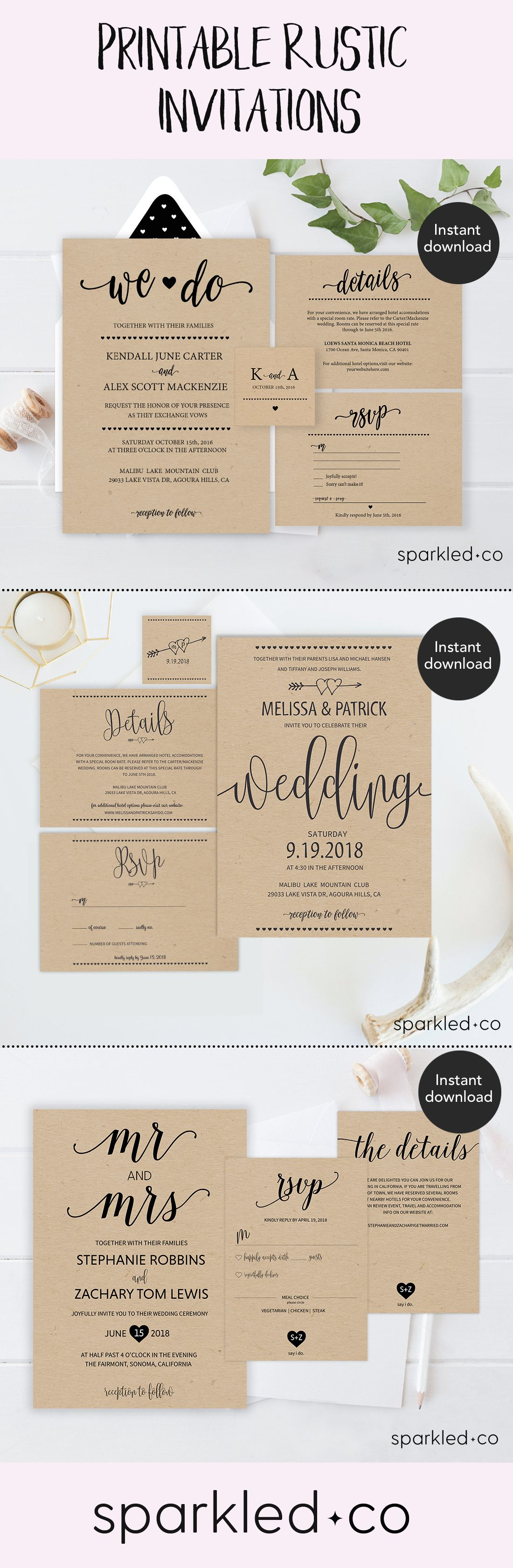 rustic wedding invitation template wedding invitation templates