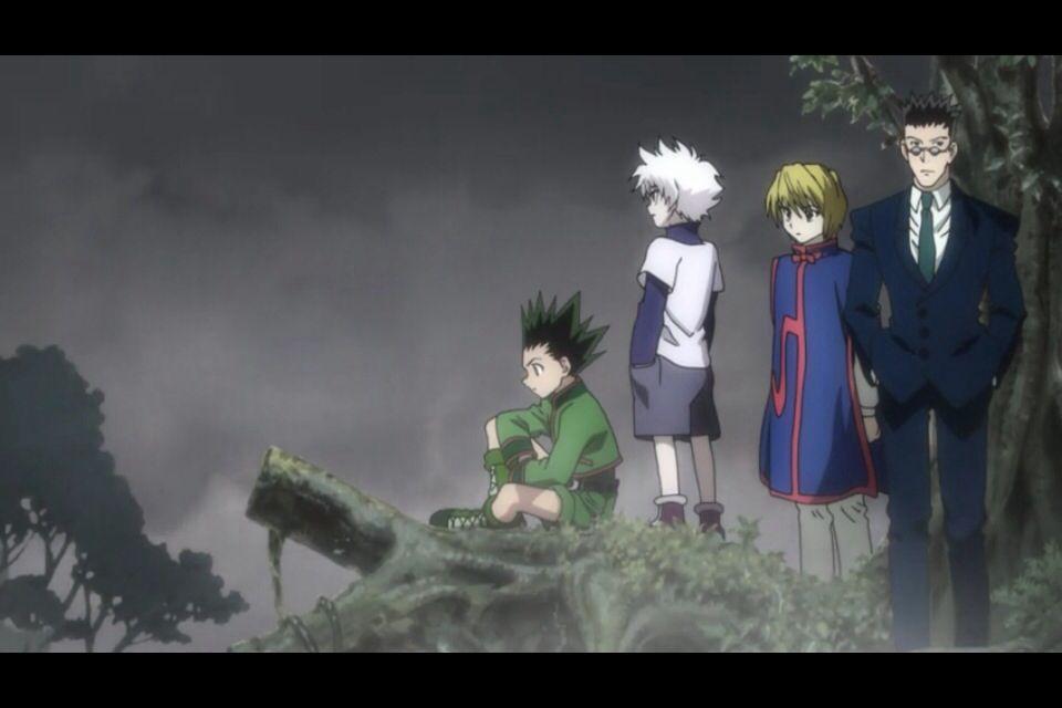 Gon, Killua, Kurapika, and Leorio in the ending for Hunter