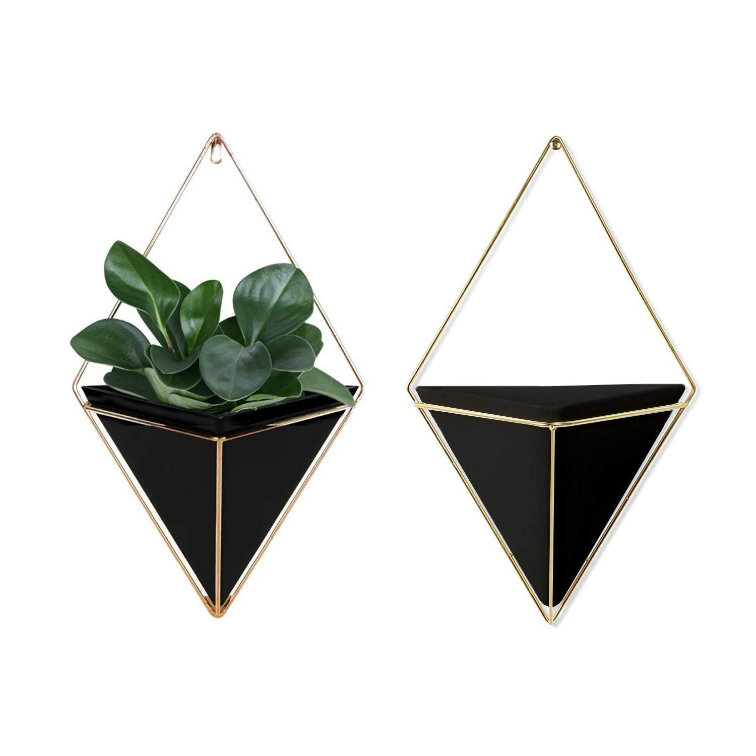 Geometric Wall Planter Set Of 2 Decorative Hanging Planters With Brass Wall Decor Frame Modern Wall Plant Holders In Black Terrarium Planters For Succulents In 2020 Wall Plant Holder Plant Wall