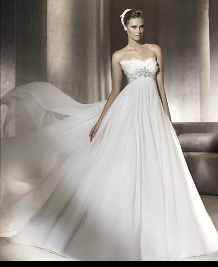 floral motif chiffon empire maternity bridal gown