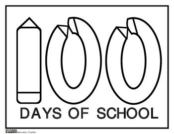 100th Day of School Coloring Page by Innovative Teacher