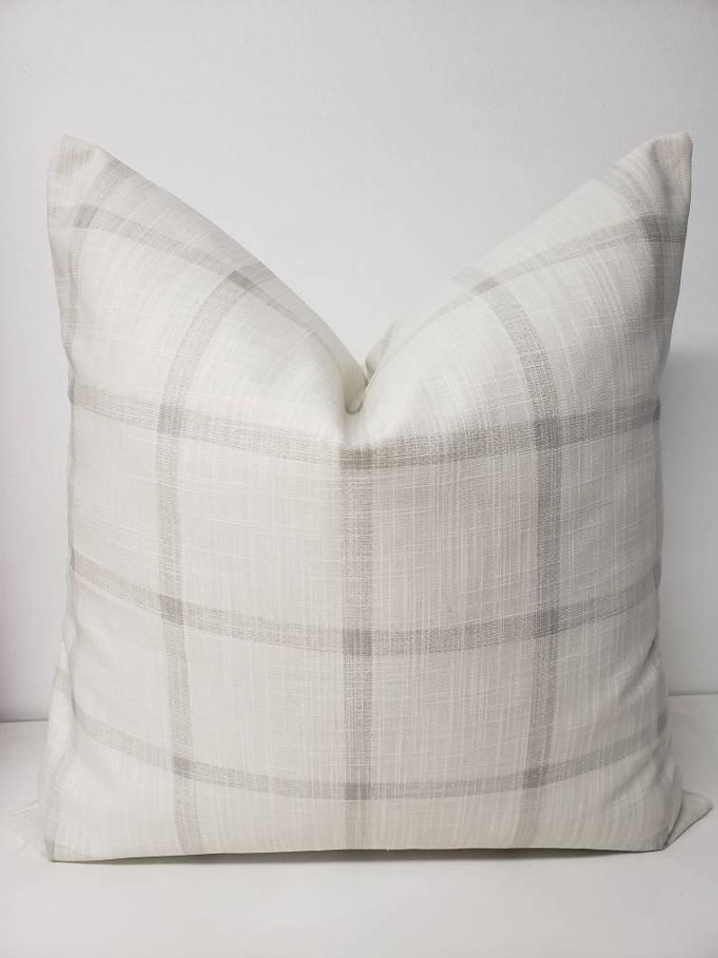 Farmhouse Pillow Cover White And Grey Check Pillow Cover Etsy In 2020 Farmhouse Pillows Pillow Covers Sofa Pillow Covers