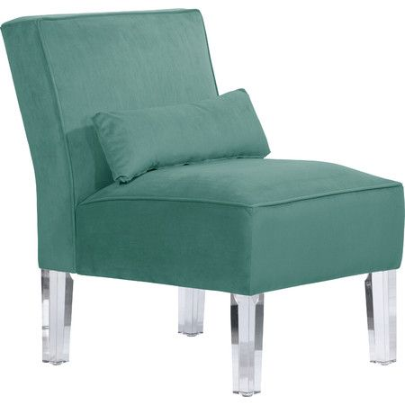 Showcasing Clear Lucite Legs And Caribbean Teal Upholstery