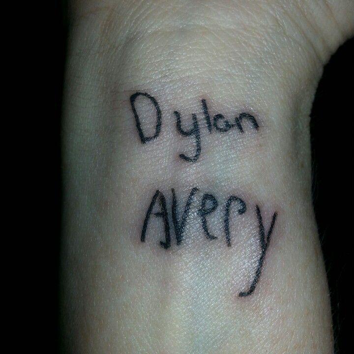 Name tattoo on wrist. ...